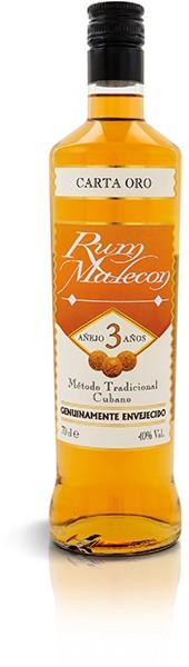 RUM MALECON CARTA ORO 3 AÑOS 40% 1,0 l